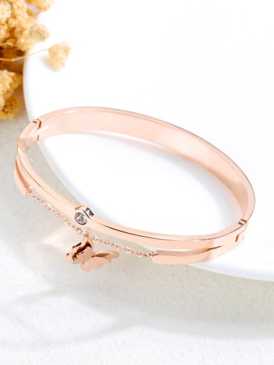 Stainless Steel With Champagne Gold Plated Simplistic tassels Butterfly Bangles