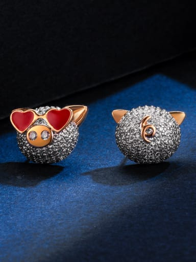 Copper With Rhinestone Cute pig  Stud Earrings