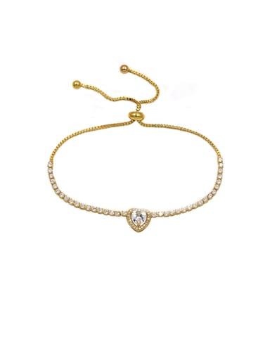 Copper With  Cubic Zirconia  Simplistic Heart Adjustable Bracelets
