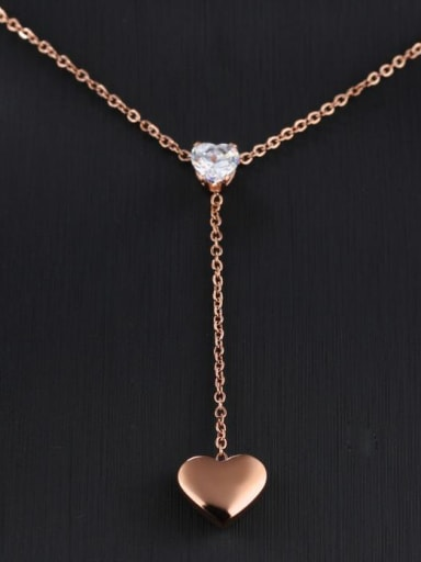 Stainless Steel With Rose Gold Plated Fashion Heart Necklaces