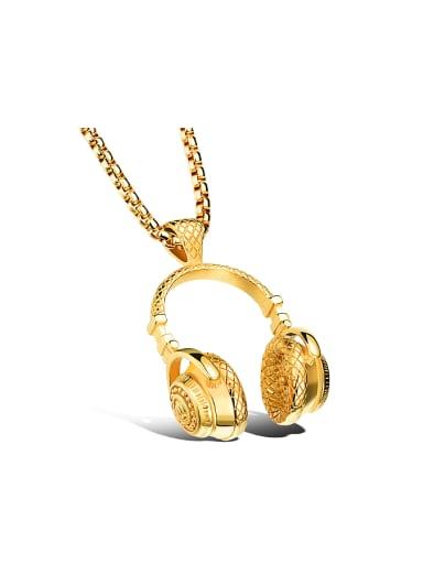 Personalized Little Earphones Titanium Men Necklace