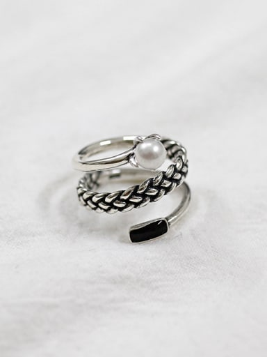 Retro style Three-band Little Artificial Pearl Silver Ring