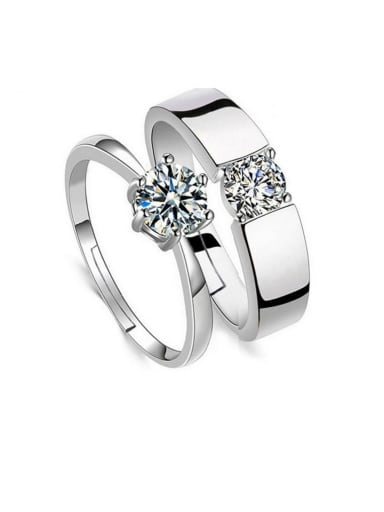 925 Sterling Silver With  Cubic Zirconia Simplistic Lovers free size Rings