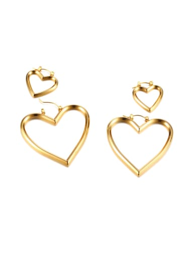 Multi-purpose cute heart-shaped stainless steel earrings