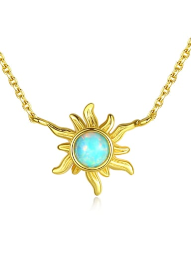 925 Sterling Silver With Opal Cute  Sun Necklaces