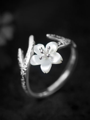 S925 silver natural shells chery flower opening ring