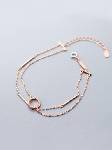 Sterling silver Zricon round double bracelet