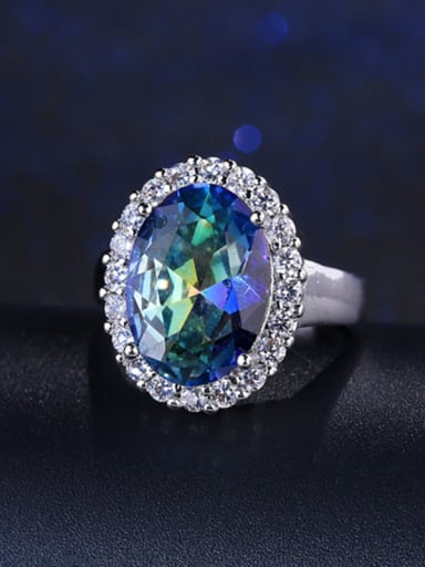 blue +white uS 6# Colorful Oval Zircon Engagement Ring