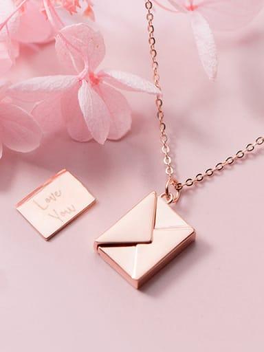 Sterling Silver simple square envelopes love letter necklace
