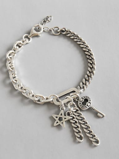 Hand made Sterling Silver retro personality key five pointed Chain Bracelet