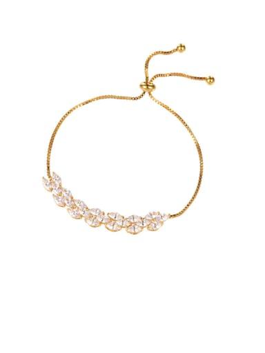Copper With Cubic Zirconia  Simplistic Water Drop Adjustable Bracelets