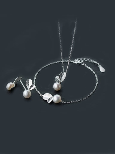 S925 Silver leaves with Natural Freshwater Pearls Set