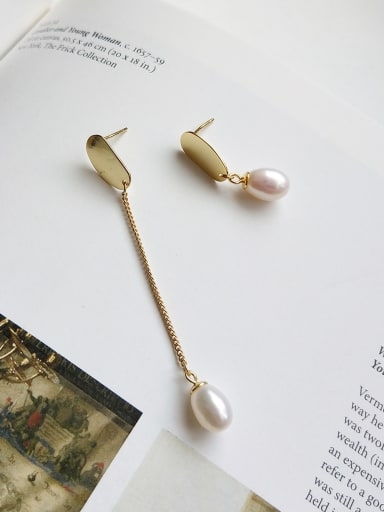 Sterling Silver asymmetrical smooth egg shaped synthetic Pearl Stud Earrings