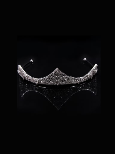 Crown-shape Micro Pave Zircons White Gold Plated Hair Accessories