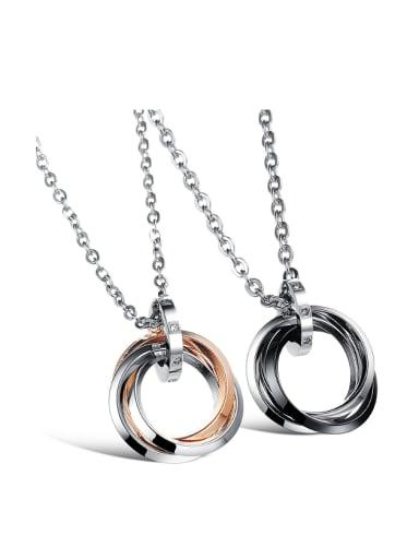 Simple Multi-band Rings Rhinestones Titanium Lovers Necklace