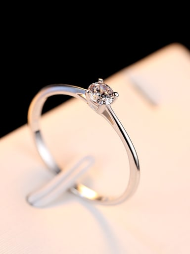 Pure Silver Engagement 4mm Hearts and arrows zircon ring