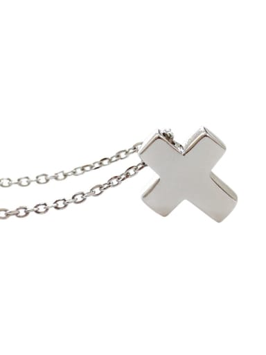 Simple Little Cross Silver Smooth Necklace