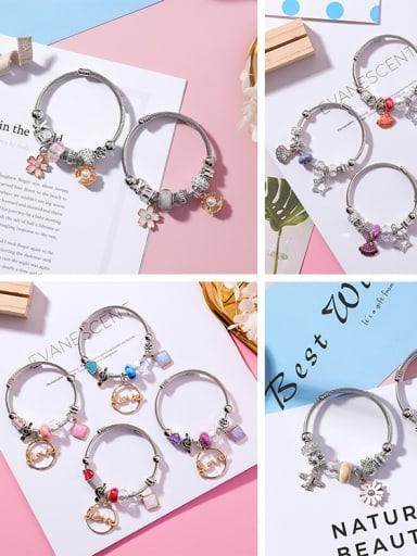 Alloy With DIY series bead cartoon Adjustable Bracelet