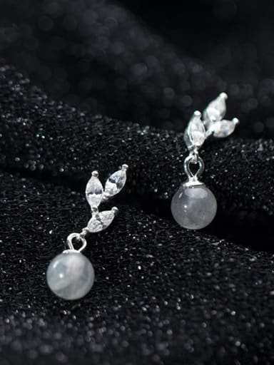 925 Sterling Silver With Platinum Plated Cute Leaf Drop Earrings