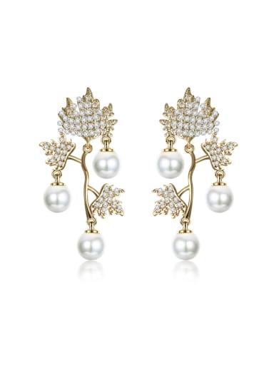 New imitation pearl tassel micro-inlay zricon leaf earrings
