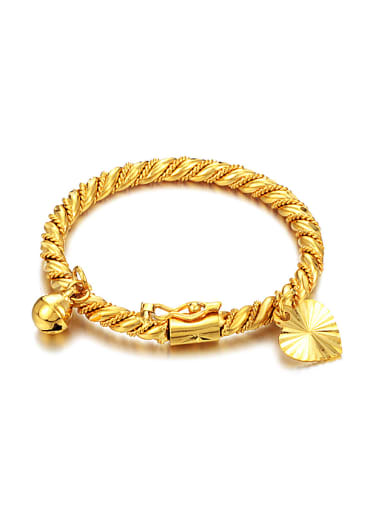 18K Gold Plated Little Bell Heart shaped Bangle