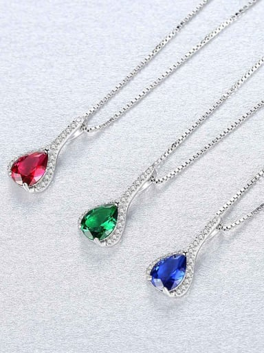 925 Sterling Silver With Fashion Multicolor glass stone Water Drop Necklaces
