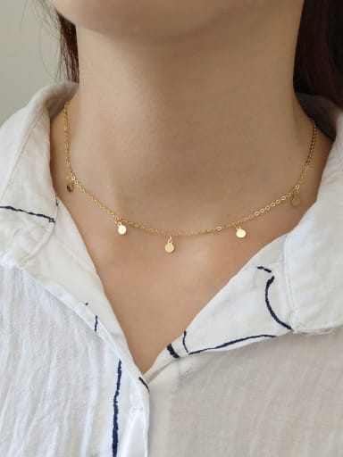 925 Sterling Silver With 18k Gold Plated Fashion Round Necklaces
