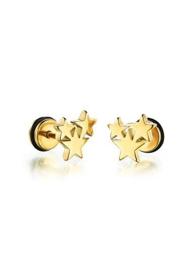Fashion Five-pointed Stars Titanium Stud Earrings