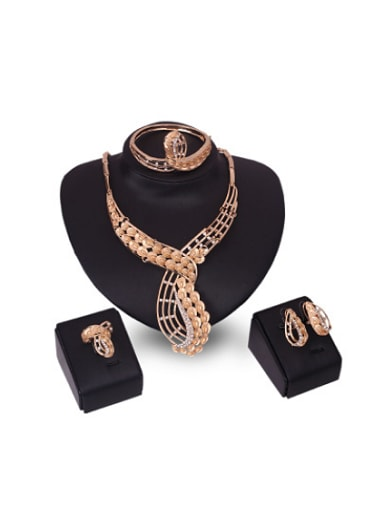 2018 2018 Alloy Imitation-gold Plated Fashion Rhinestones Four Pieces Jewelry Set