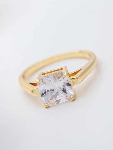 Copper inlaid AAA zircon square single zircon ring