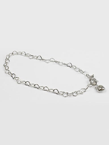Simple Hollow Little Hearts chain Silver Bracelet