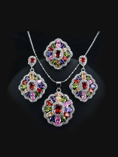 Colorful Zircons Flower Three Pieces Jewelry Set