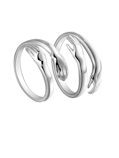 925 Sterling Silver With White Glossy  Simplistic Hands folded Lovers Free Size  Rings