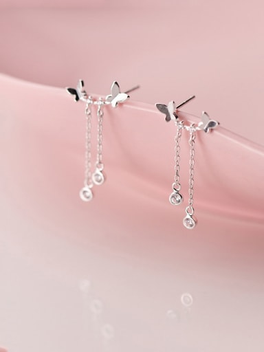 925 Sterling Silver With Platinum Plated Simplistic Butterfly  Tassel  Earrings
