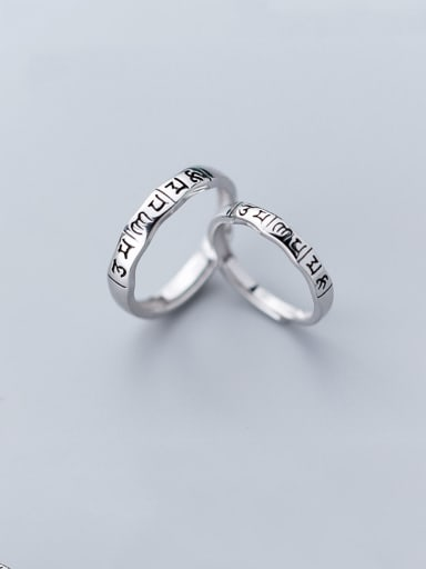 925 Sterling Silver With  Simplistic Monogrammed Engagement Free Size  Rings
