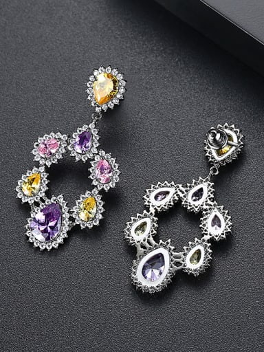 Copper inlaid AAA zircon fashion color-zirconium Earrings