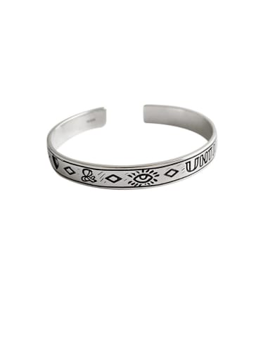 925 Sterling Silver With Platinum Plated Vintage Irregular Free Size  Bangles