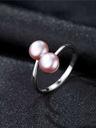 Sterling Silver 6-7mm natural freshwater pearl free size ring
