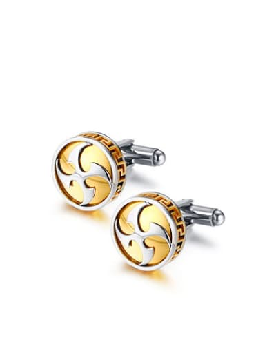 Fashionable Gold Plated Geometric Shaped Stainless Steel Cufflinks