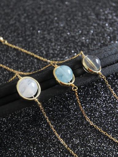 S925 Pure Silver Moonstone sea blue jewel Thin Bracelet