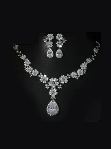 Luxury AAA Zircon Two Pieces Jewelry Set