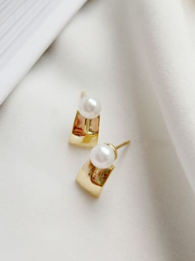 Sterling silver geometry synthetic pearl earrings