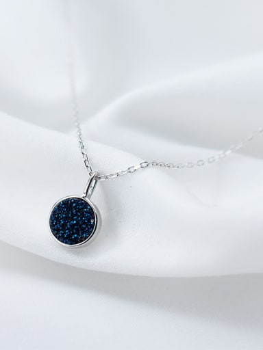 Temperament Blue Round Shaped Crystal S925 Silver Necklace