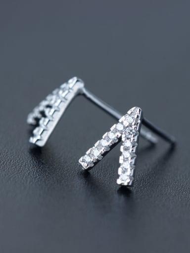 S925 silver letter V shape zircon lovers stud cuff earring