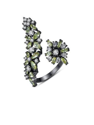 Copper With Cubic Zirconia Luxury Flower  Free Size  Statement Rings