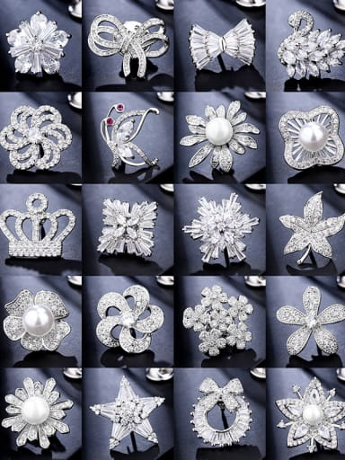 Copper With  Cubic Zirconia Delicate Flower Multi style combination Lapel Pins