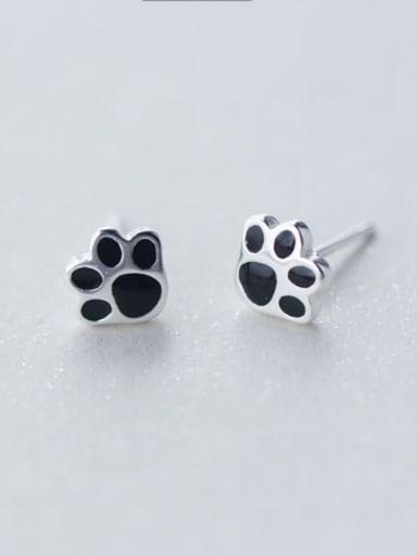 S925 silver puppy's footprints stud cuff earring