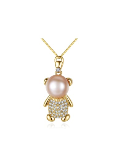 Sterling silver micro-inlaid zircon bear freshwater pearl necklace