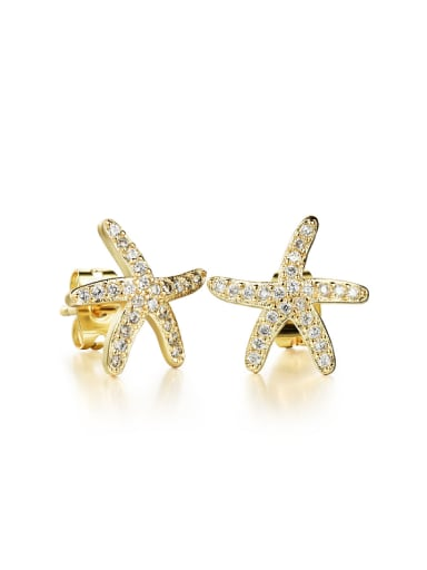 Fashion Starfish Rhinestones Stud Earrings