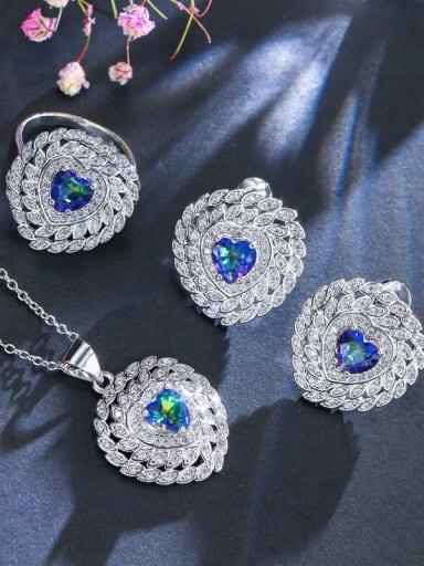 The Luxury Shine AAA Zircon Love heart Necklace Earrings ring 3 Piece jewelry set